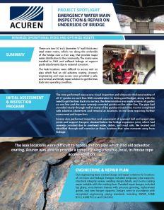 project Spotlight: Emergency Water Main Repair on Underside of Bridge thumbnail